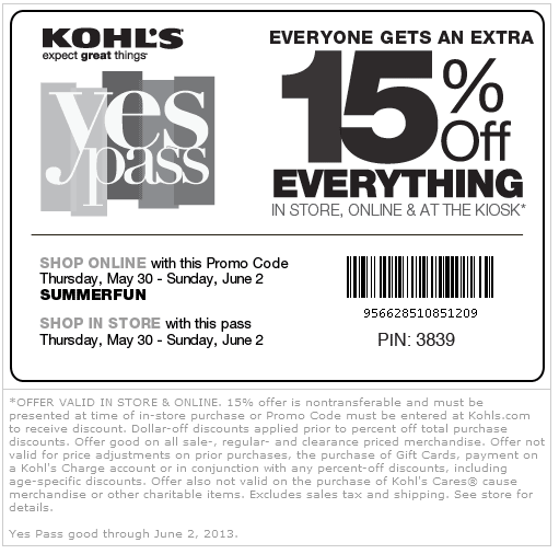 Pinned May 30th 15 Off Everything At Kohls Or Online Via Promo Code Summerfun Coupon Via The Coupons App Kohls Coupons Kohls Printable Coupons Coupon Apps