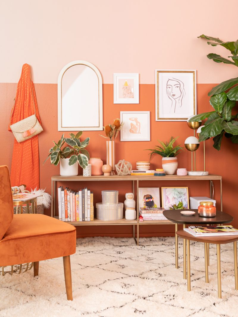 Color Adventures A Rust Living Room Via Oh Joy Orange Home Decor Living Room Orange Peach Living Rooms #peach #living #room #decor