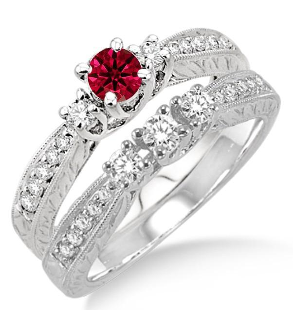 1 5 Carat Ruby Diamond Antique Bridal Set On 10k White Gold Price 699 00 Usd On Shygems White Gold Bridal Sets Ruby Diamond