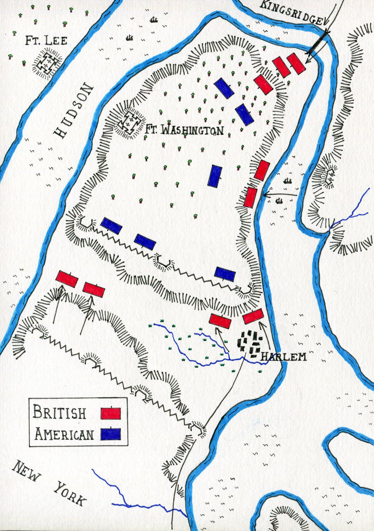 Map Of The Battle Of Fort Washington On 17th November