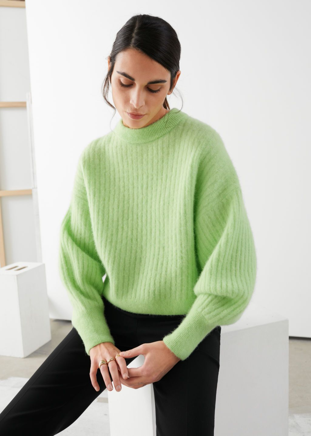 Alpaca Blend Knit Sweater in 2020 | Knitted sweaters