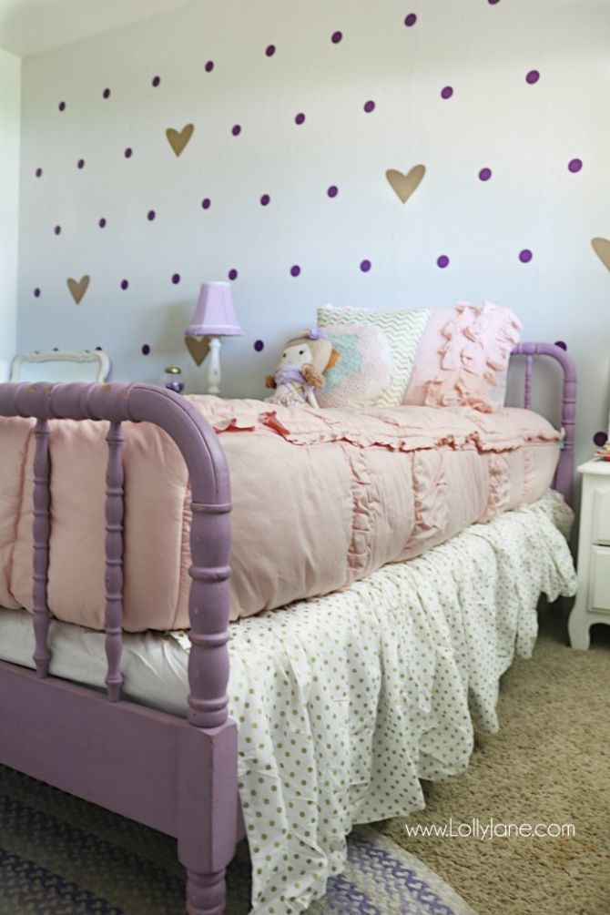 little girl purple gold bedroom makeover | Gold bedroom ...