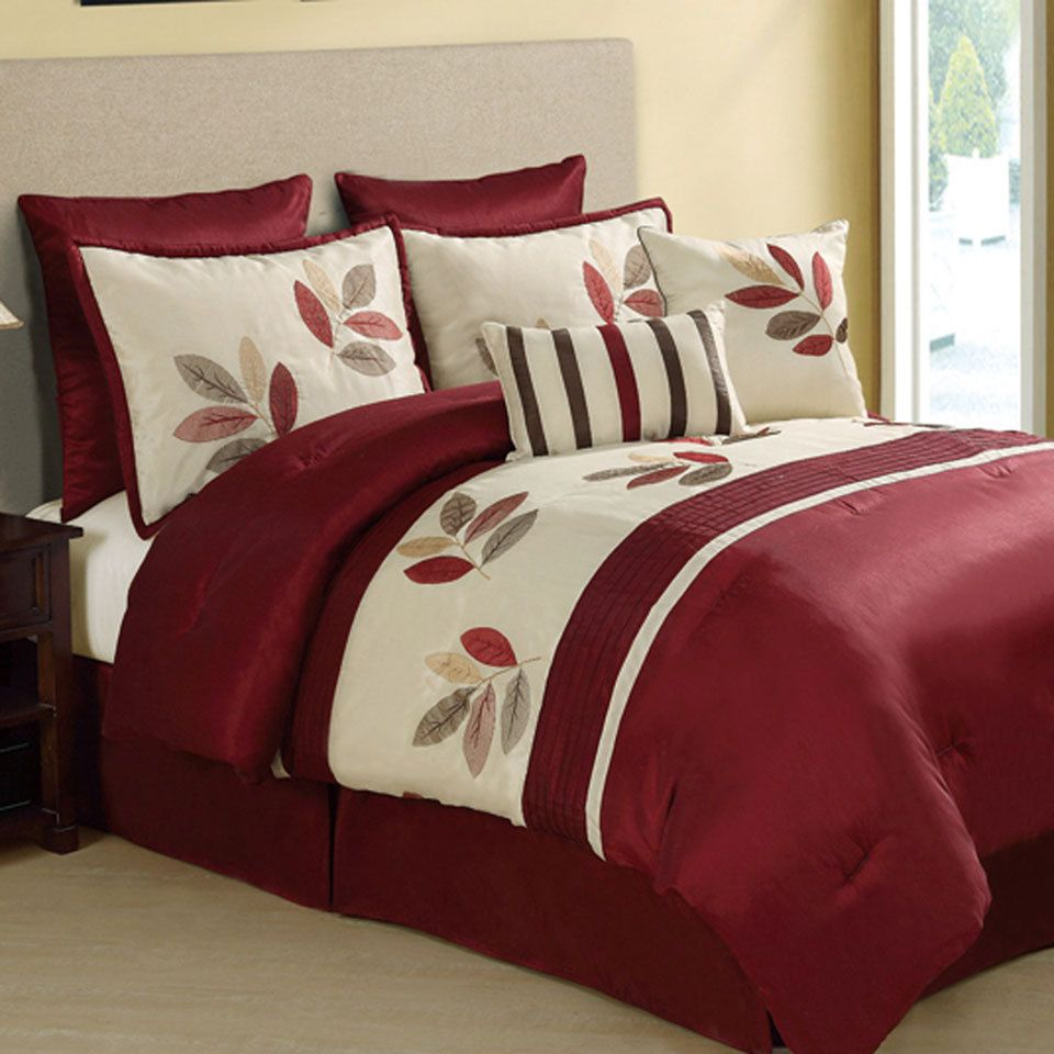 Oakland comforter set in burgundy new ideas for for Home decor queen west