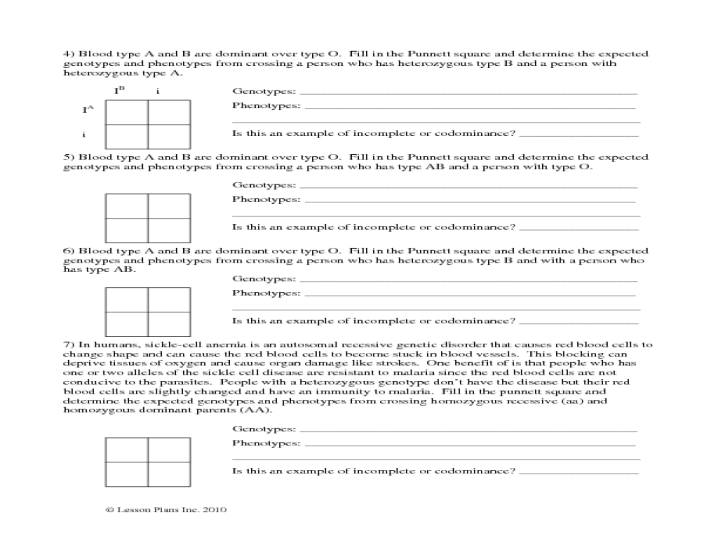 Incomplete Dominance Worksheet Answer Key incomplete dominance – Sex Linked Punnett Square Worksheet