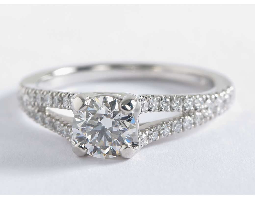 ae127b2bc5ad6 Split Shank Trellis Diamond Engagement Ring in 14k White Gold (1 3 ...