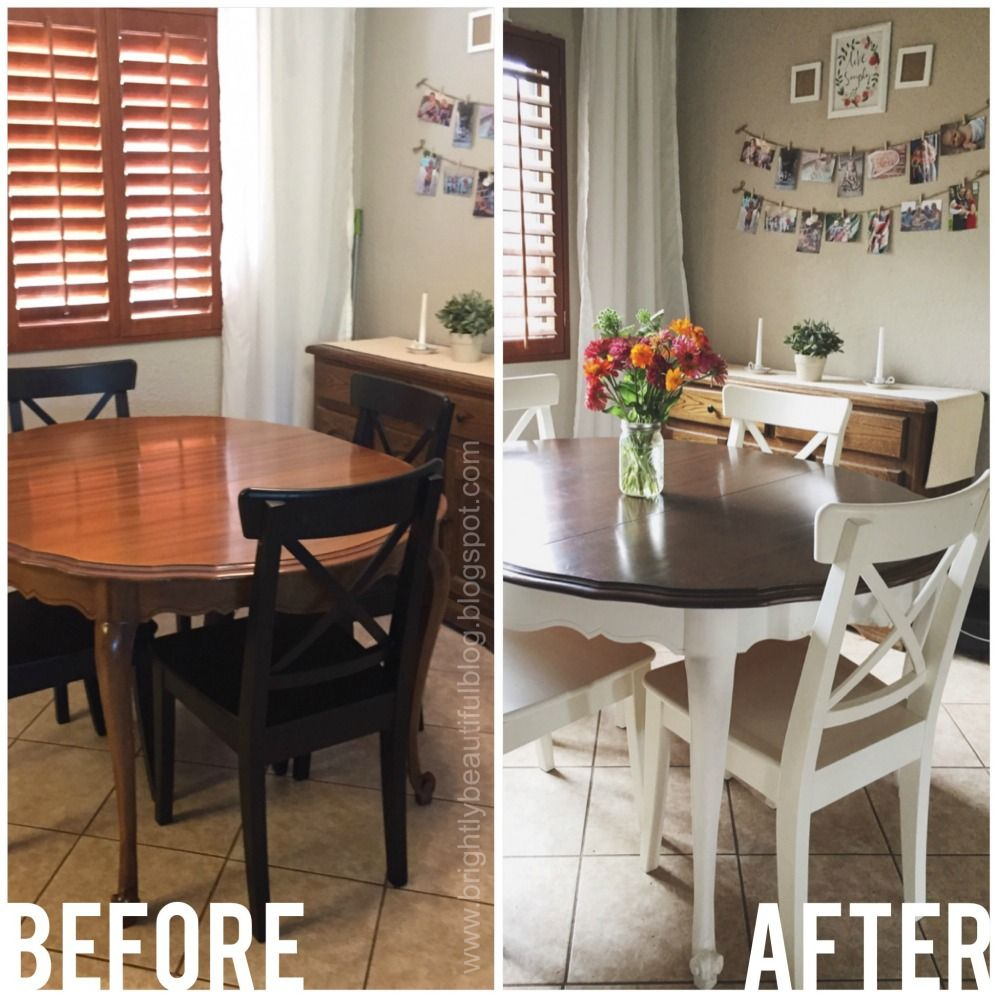 All Things Bright And Beautiful Refinished Dining Table Dining Table Makeover Refinish Dining Tables Kitchen Table Makeover