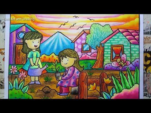 Cara Menggambar Dan Mewarnai Gradasi Crayon Tema Berkebun Go Green Drawing Scenery Youtube Animal Art Projects Poster Drawing Art Lesson Plans