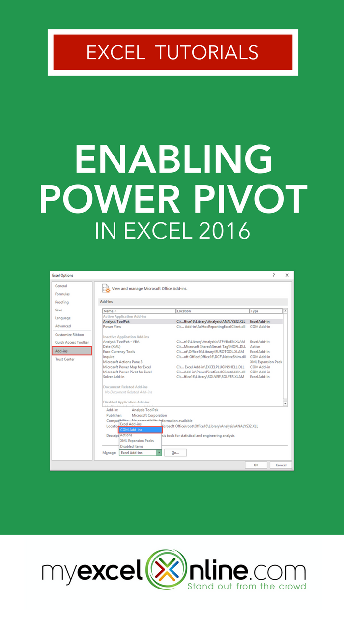 Enabling Power Pivot in Excel 2016 Excel budget