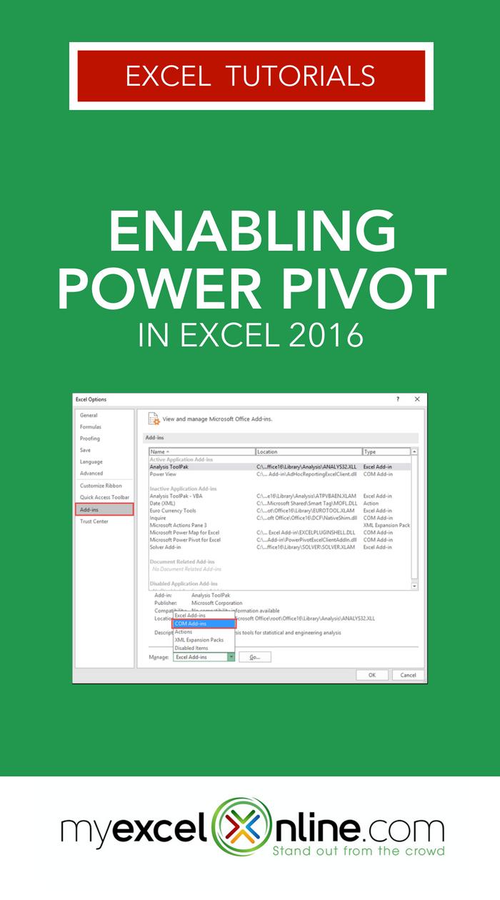 Enabling Power Pivot in Excel 2016 | Stuff | Microsoft excel
