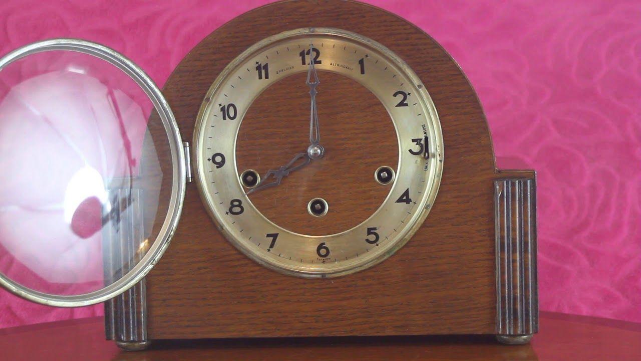 Vintage art deco german 8 day oak mantel clock gufa with vintage art deco german 8 day oak mantel clock gufa with wesminster ch amipublicfo Choice Image