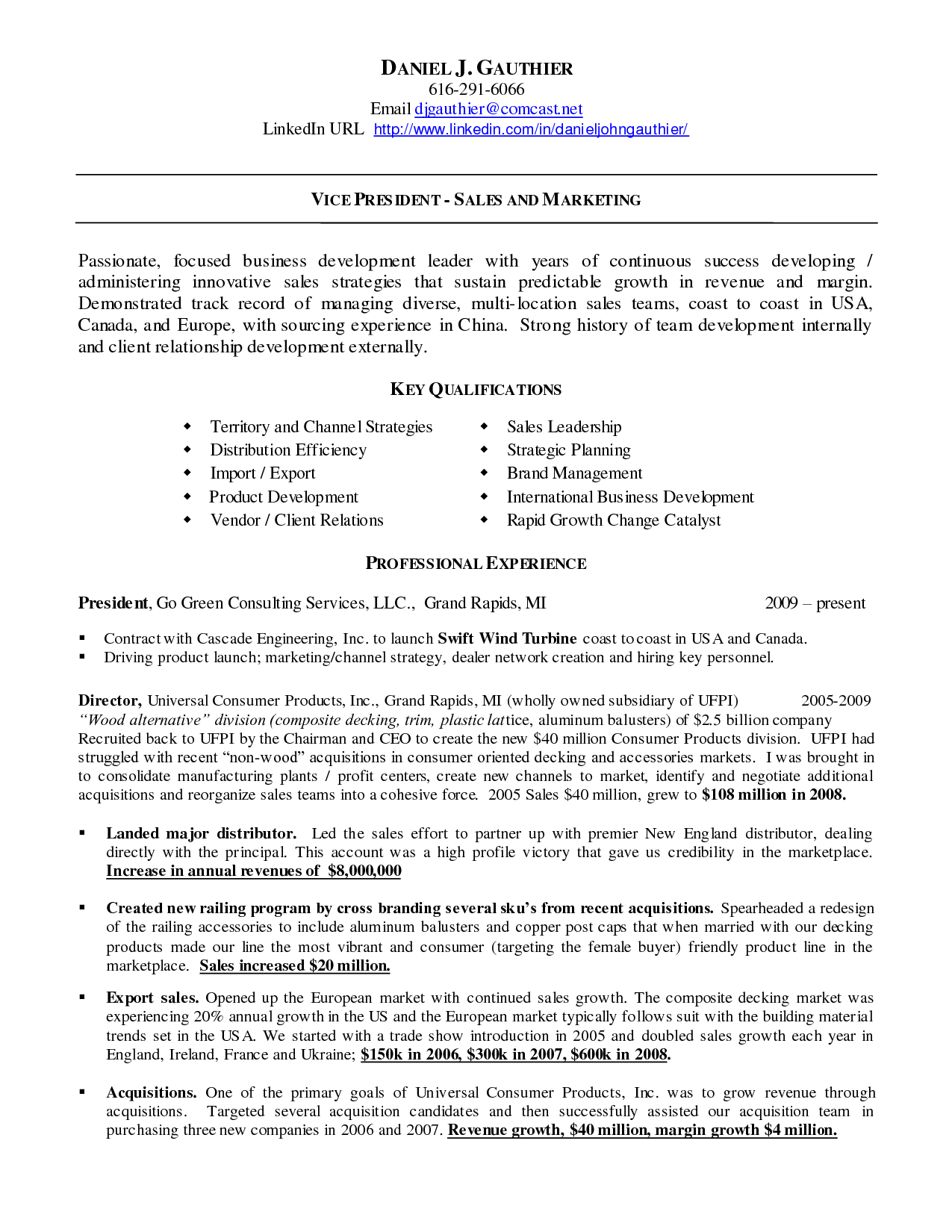 LinkedIn URL On Resume Example. Vice President Sales Business Development  Resume  Sales Resume Tips