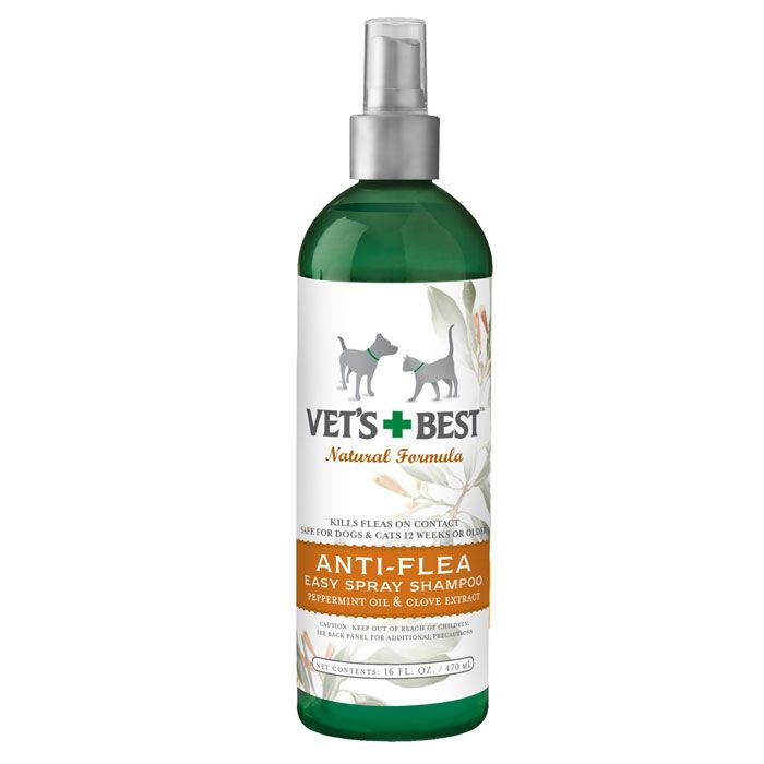 Vet S Best Natural Anti Flea Easy Spray Shampoo 16 Oz Flea