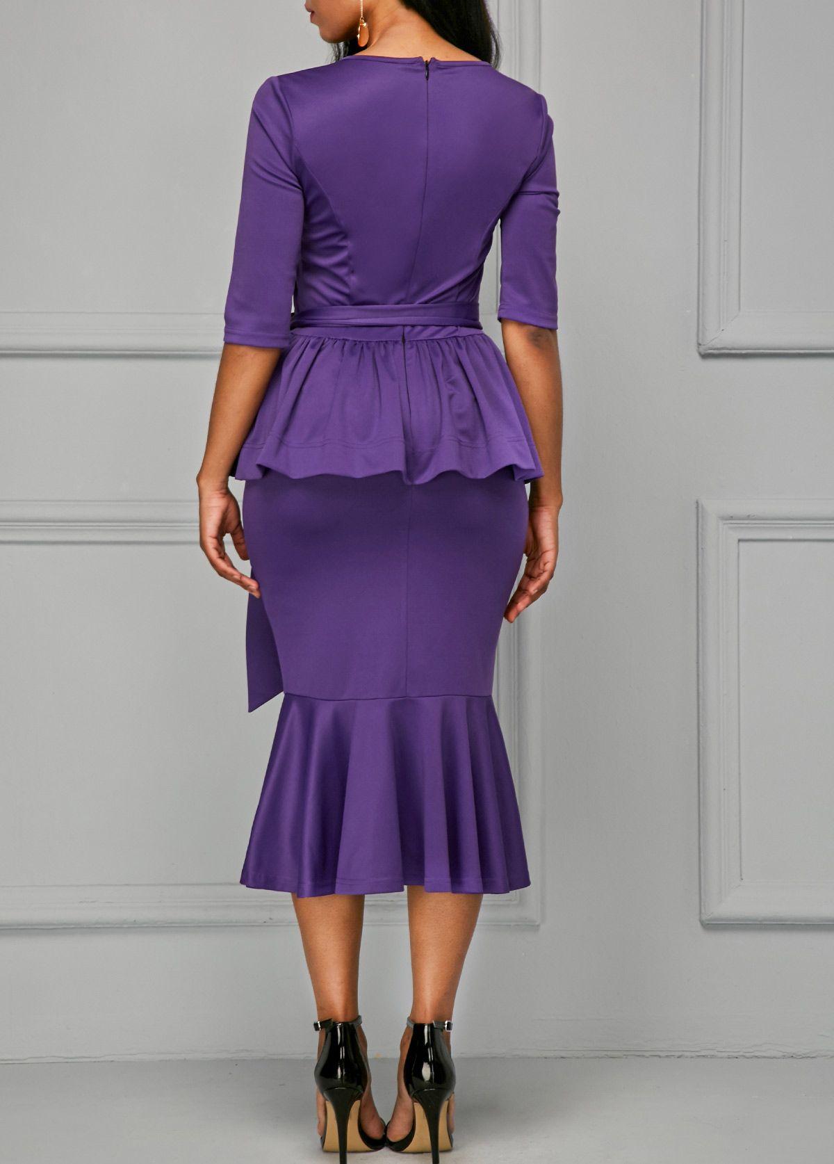 Frill Hem Peplum Waist Half Sleeve Belted Dress