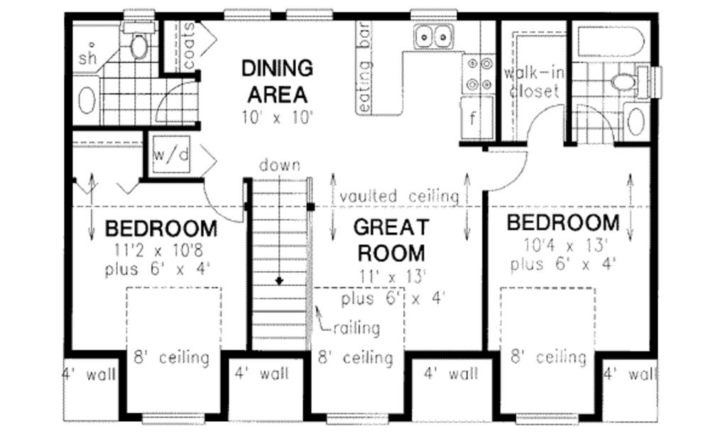 Garage apartment plan 18 318 920 sq ft 2 beds baths for Small basement apartment floor plans