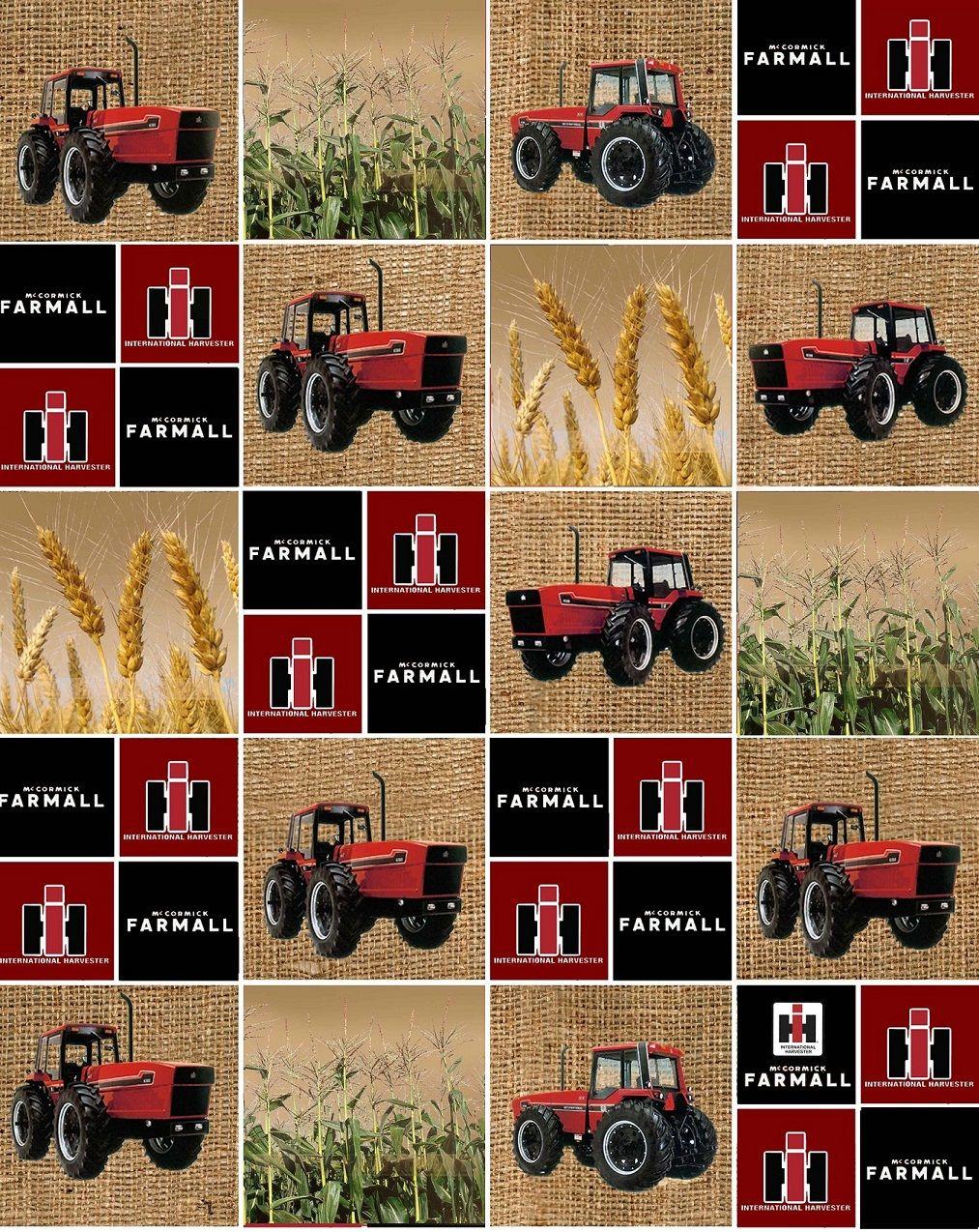 Case International Tractor Fabric : Farmall tractors and logo block print the burlap