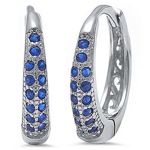 Half Eternity Hoop Earrings Round CZ 925 Sterling Silver Choose Color
