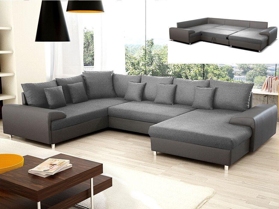Canapé d angle convertible en tissu et simili CLEMENT Gris Angle