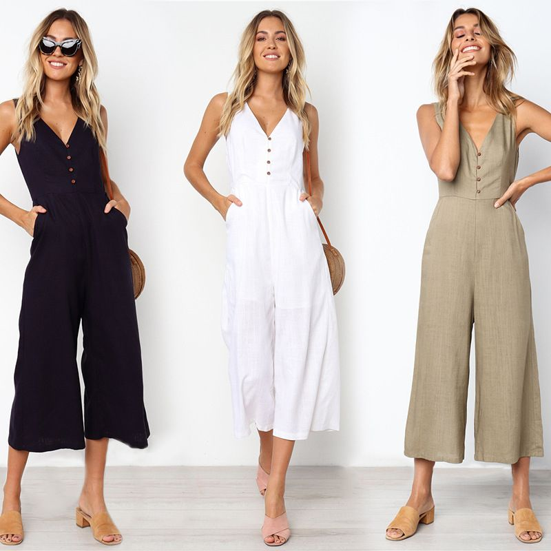 Button Pocket Cropped Jumpsuit In 2020 Jumpsuits For Women Wide Leg Romper Wide Leg Jumpsuit