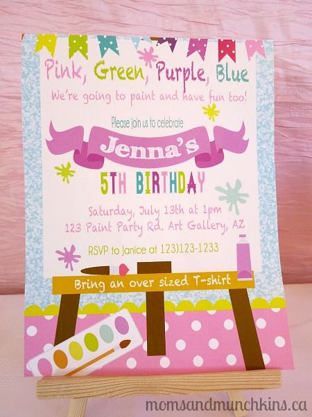 Art Birthday Party Ideas for Kids – Diy Girl Birthday Party Invitations