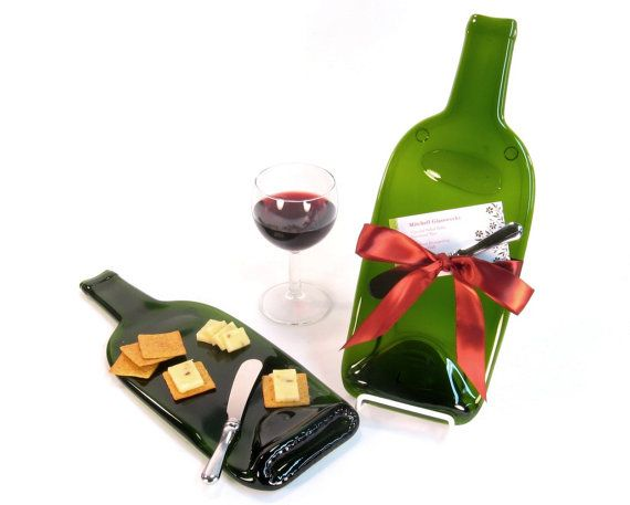 Melted Wine Bottle Cheese Plate with Plum Ribbon - Christmas Gift Hostess Wedding Present Wine Accessories Tabletop Seving  sc 1 st  Pinterest & Melted Wine Bottle Cheese Tray Hostess Gift Mothers Day Gift Idea ...