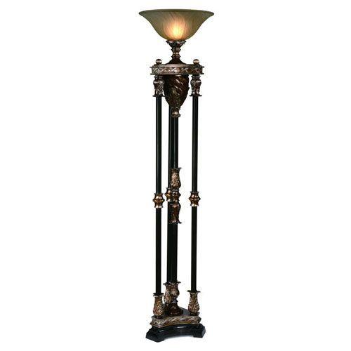 Silvered Bronze Four Column One Light Torchiere Floor Lamp