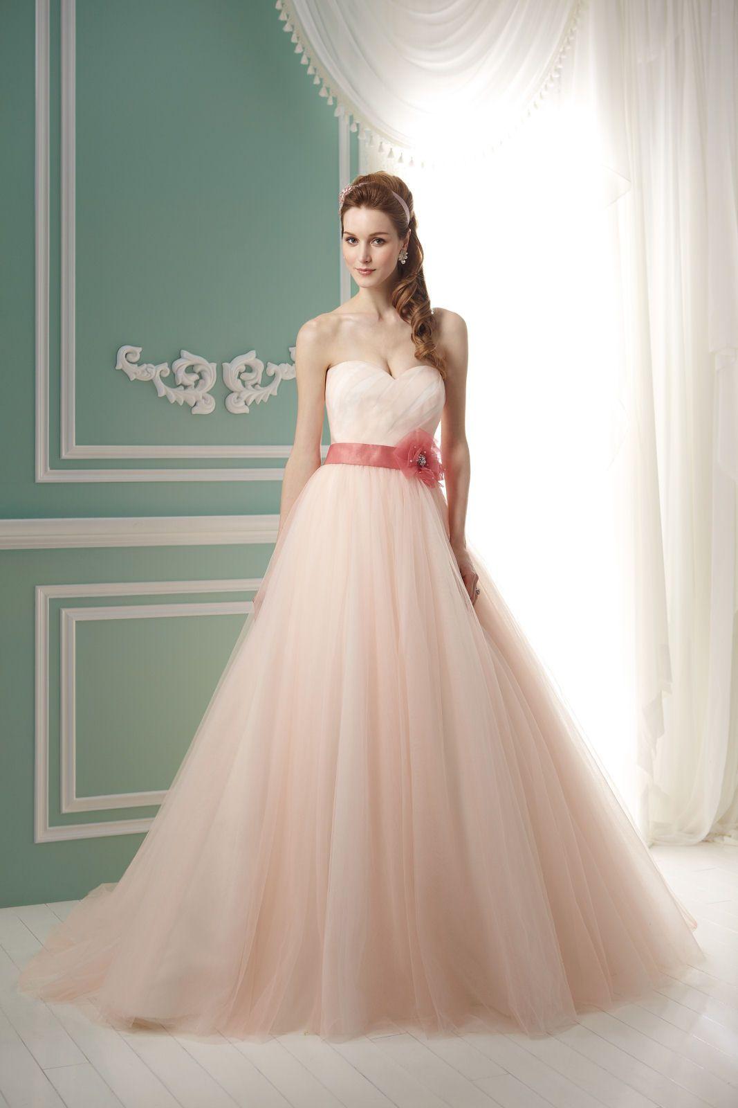 blush wedding dress, minus the belt/sash