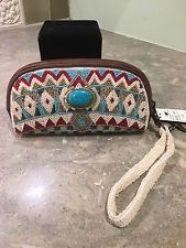 "MARY FRANCES ""Turquoise Power""  Wristlet Eyeglass Case Makeup Filly Beaded NWT"