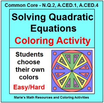 Solving quadratic equations: coloring activity ...