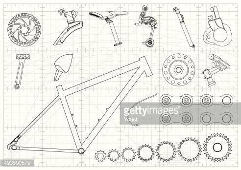 Blueprint with bike equipments clipart vectoriel bike equipments blueprints malvernweather Images