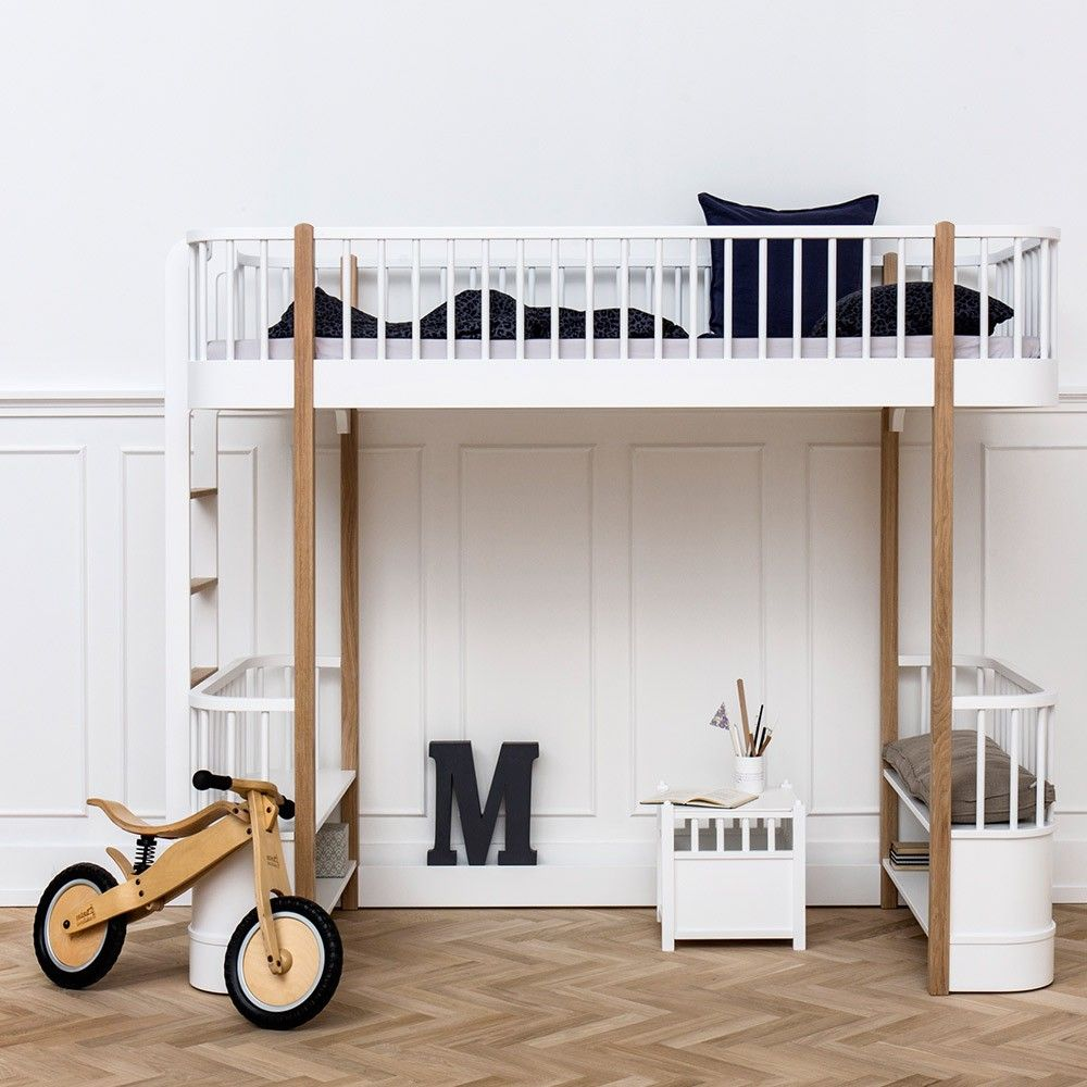 Channel contemporary style into children's interiors with the Wood Loft Bed Oak