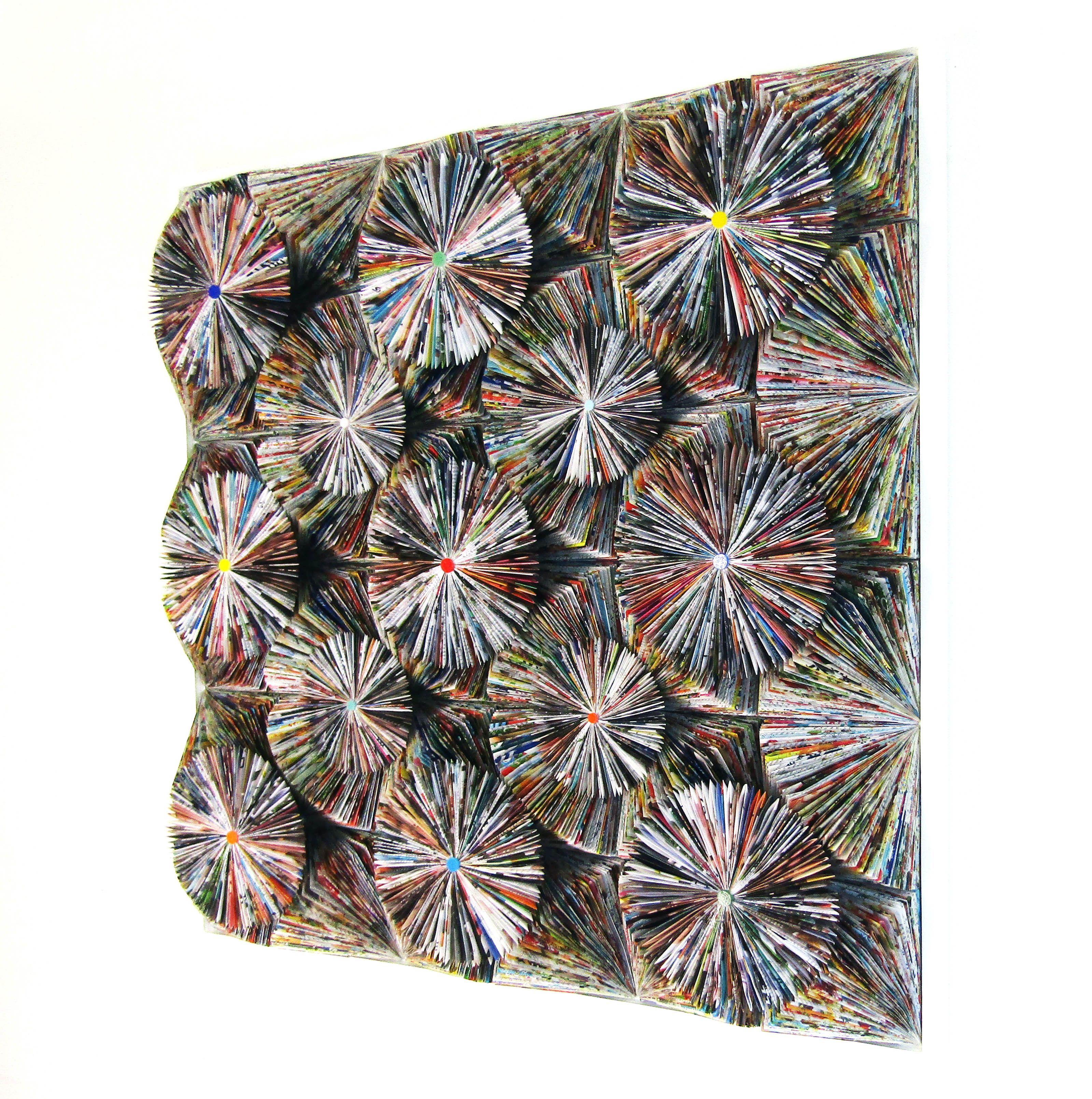 Lady D  Sculpted paper on wood panel   100 x 100 x 15 cm