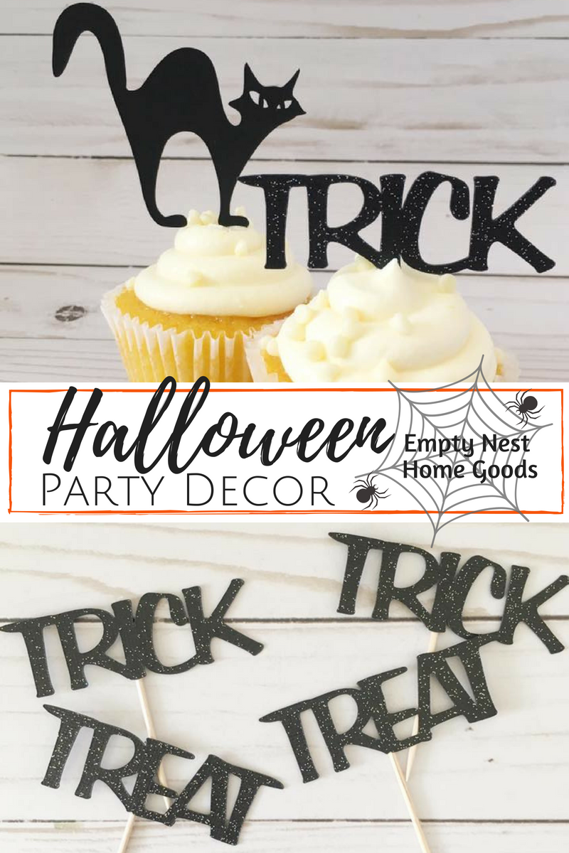 Halloween cupcake toppers, Trick or Treat party decor, cute ...