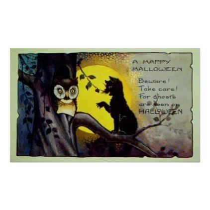 #Vintage Halloween black cat owl decor poster - #Halloween happy halloween #festival #party #holiday