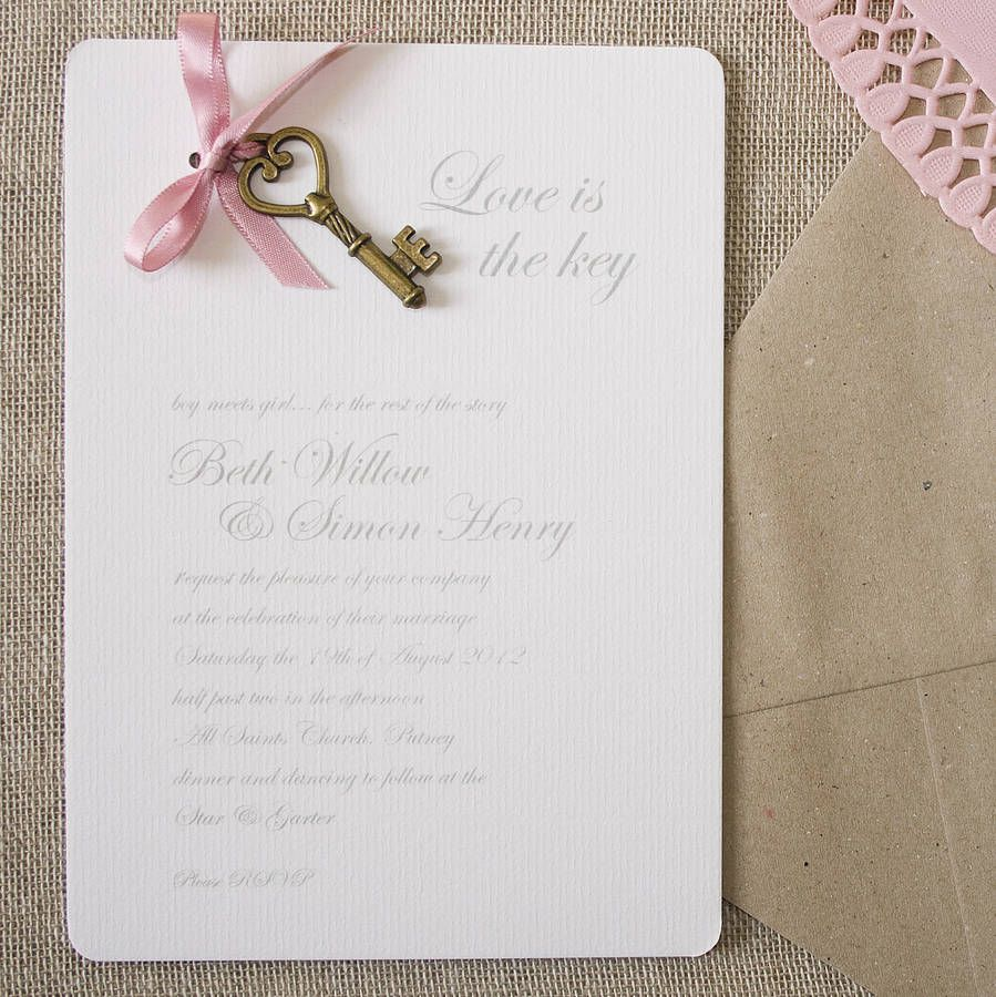 Love Is The Key\' DIY Wedding Invitation Pack | Diy wedding ...