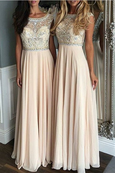 A-Line Cerw Sweep Train Sleeveless Champagne Chiffon Prom Dress with ... 2476e50c4b03
