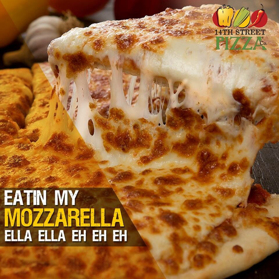Eating my MOZZARELLA Ella Ella Eh Eh Eh! #14thStreetPizza #TGIF  Call Now 111-36-36-36 or Visit http://www.14thstreetpizza.com/