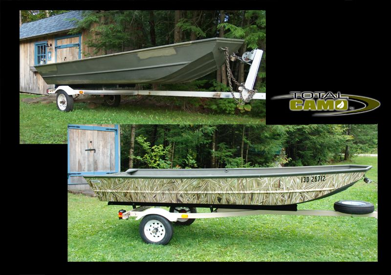 Beforeafter boat camouflage