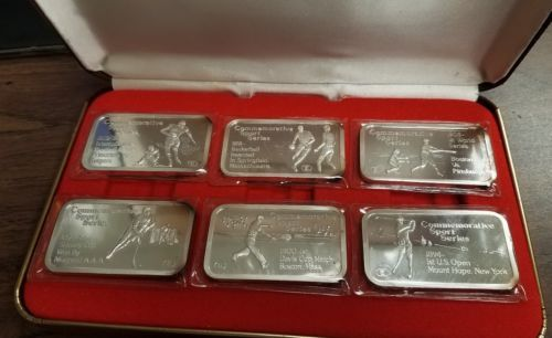 6 Engelhard Commemorative Sports Series 1 Oz 999 Silver Bars Silver Bars Commemoration Silver