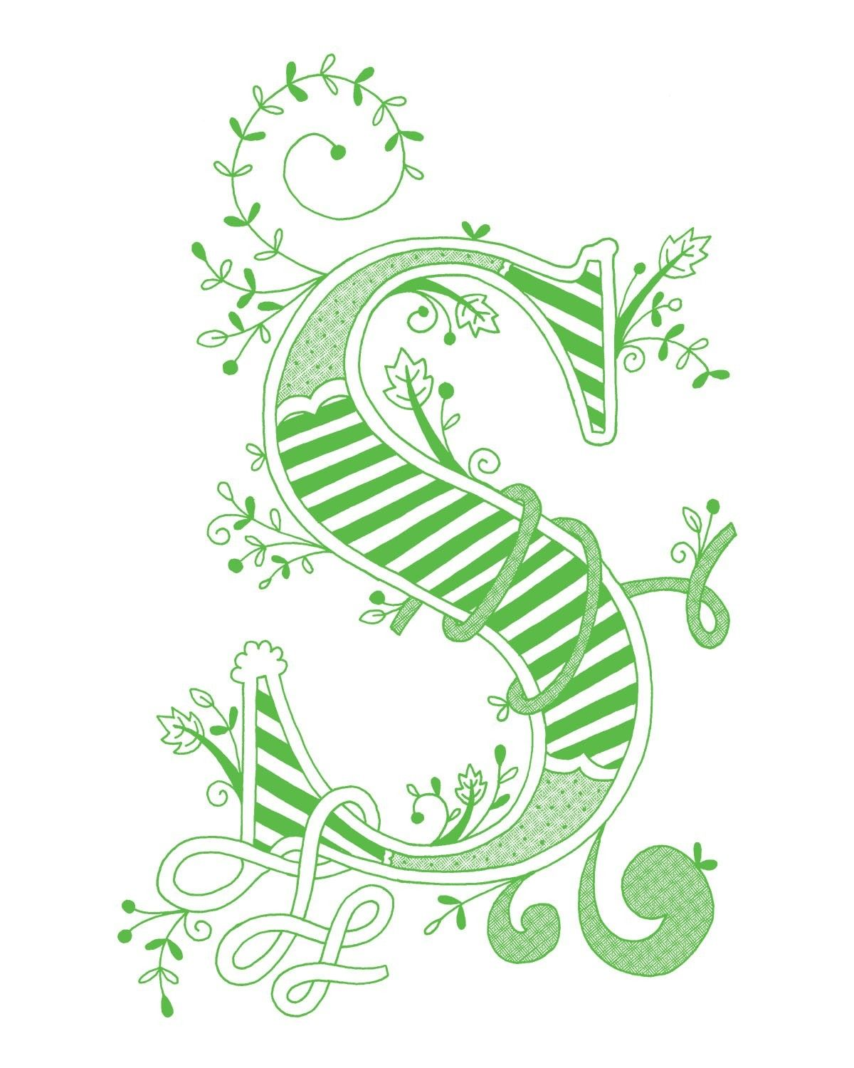 Hand drawn monogrammed print, 8x10, the Letter S, in the color green ...