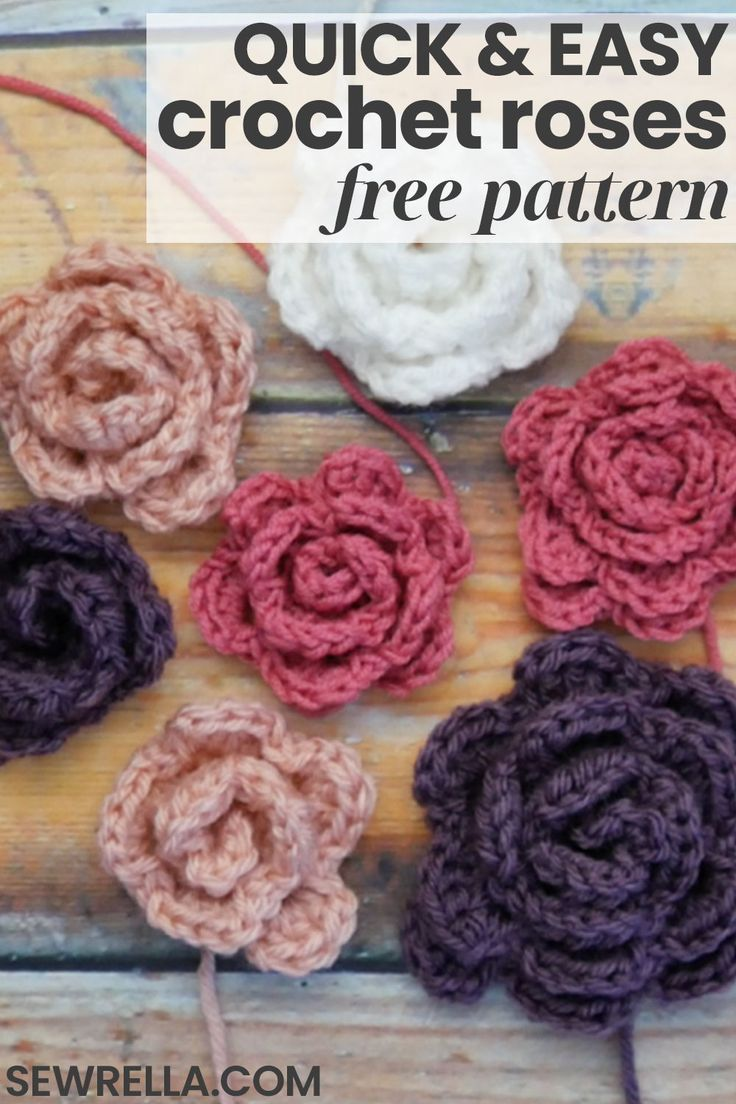 These quick and easy crochet roses are perfect to add to just about any project!…