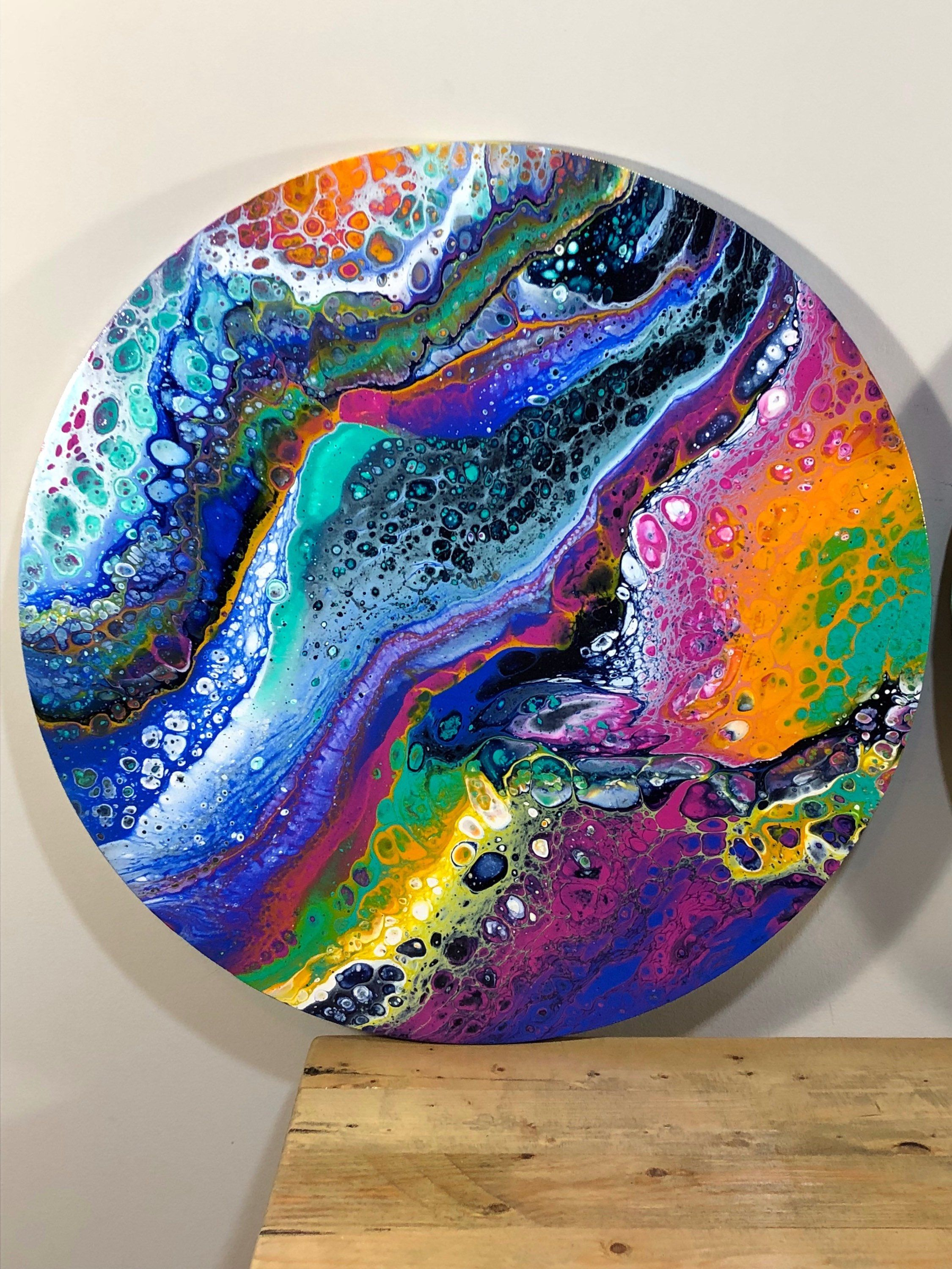 FREE SHIPPING on this 20' round fluid art painting on