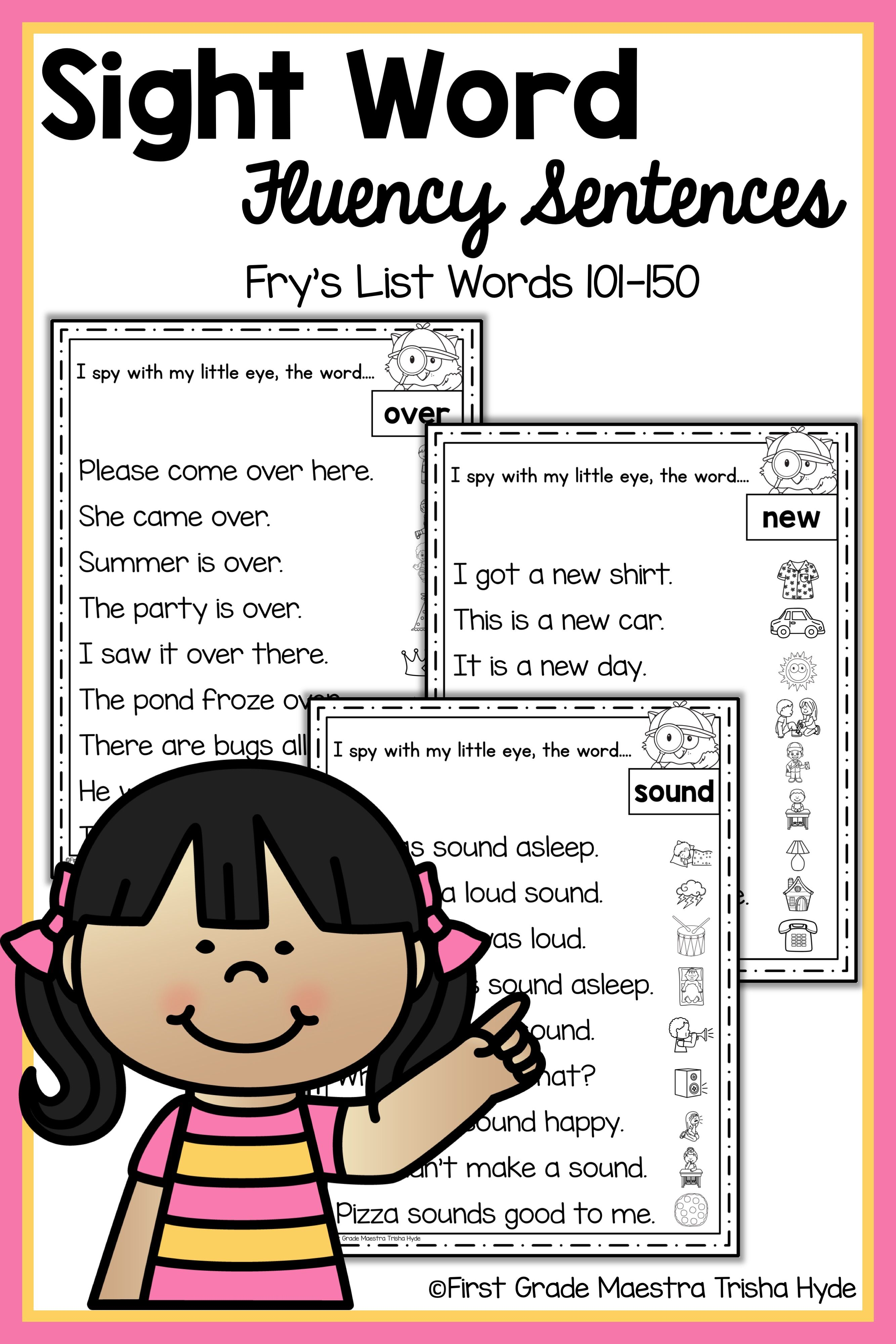 Sight Word Fluency Sentences Frys Words 101 To 150 With