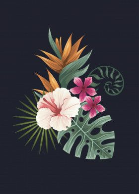 Tropical leaves single nr1 | Displate thumbnail