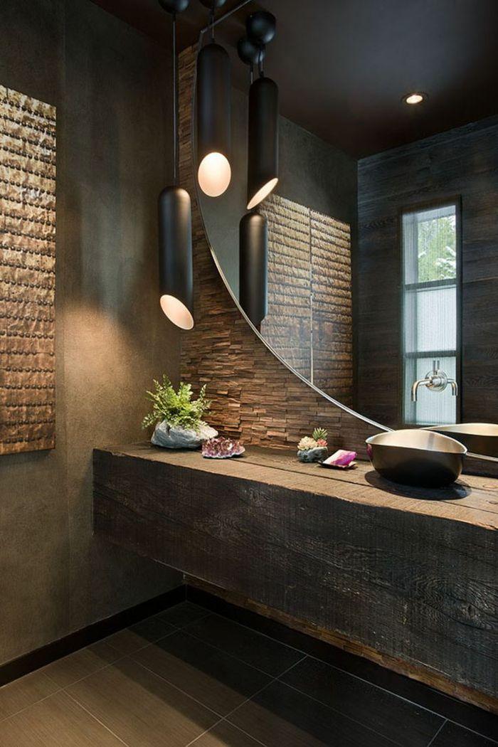 Grosser Runder Spiegel Und Waschtisch Aus Holz Badezimmerlampen