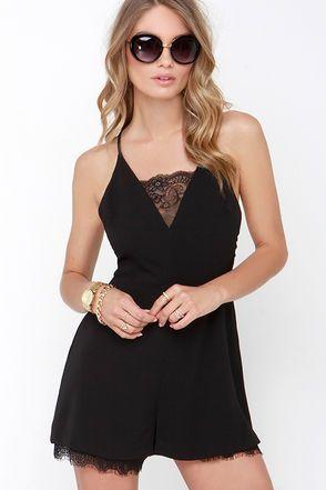 Cute Lace Romper - Black Romper - Open Back Romper - $46.00