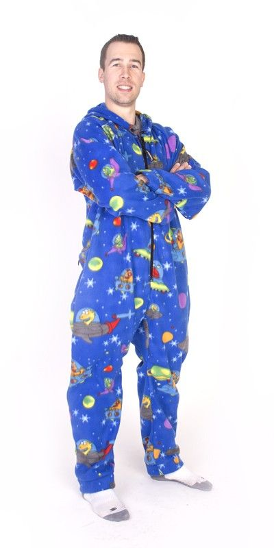 e6ab53334 Space Print Deluxe Hooded Footed Pajamas