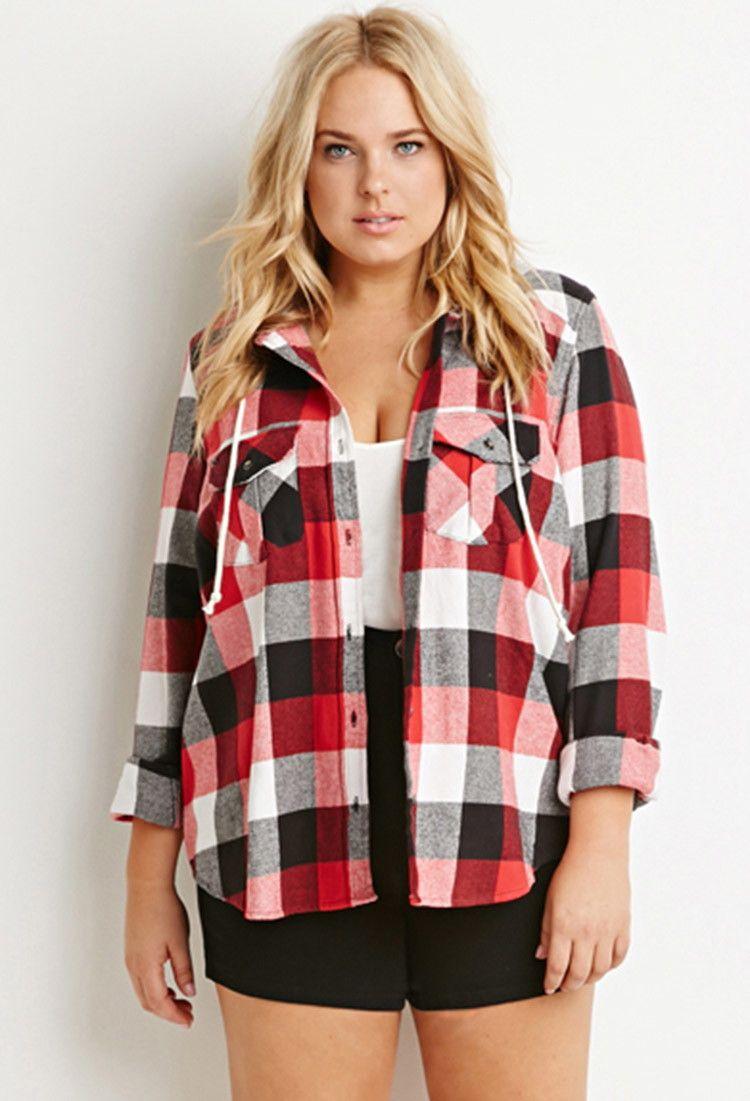 Flannel shirt plus size  Plus Size Hooded Plaid Flannel Shirt  Style  Pinterest  Canada