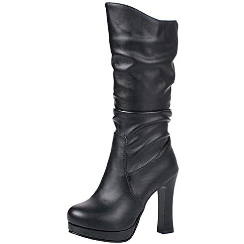 Women's Fashion Buckled Mid Block Heels Mid Calf Boots Half Riding Booties