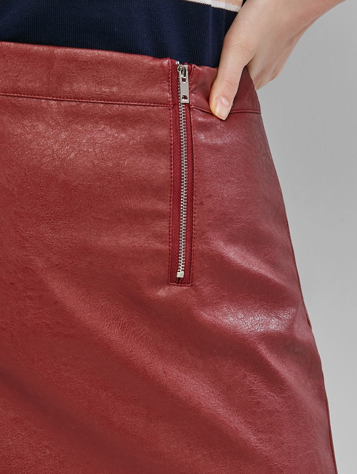 Dual Zip Faux Leather Skirt Red Wine Sponsored Faux Zip Dual Leather Wine Ad In 2020 Faux Leather Skirt Leather Skirt Faux Leather
