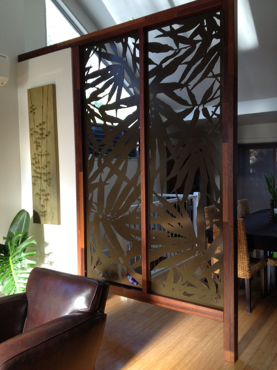 Aluminium privacy screen fixed to hardwood frame Privacy Screens